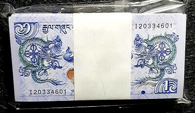 BHUTAN 1 Ngultrum  banknote in 100pcs Bundle UNC (+FREE 1 Bank.note) #D6468