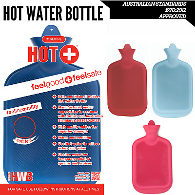 2L HOT WATER BOTTLE Winter Warm Natural Rubber Bag - ACCC Approved