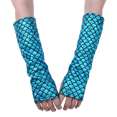 Mermaid Fish Scale Print Half Fingerless Long Gloves Arm Sleeves Adult Costume