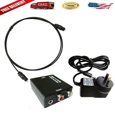 Optical Digital Coax Coaxial Toslink to Analog- RCA L/R Audio Converter Adapter