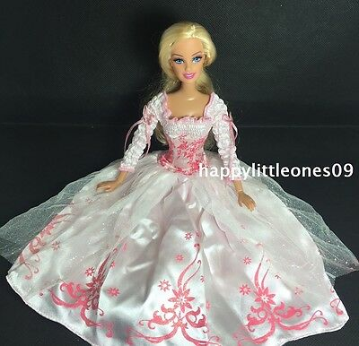 Barbie Doll Frilly Sleeves Party Evening Wedding Dress/Outfit & Shoes Set New