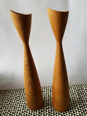 Danish Mid Century Wooden Candlesticks Candle Holders retro vintage
