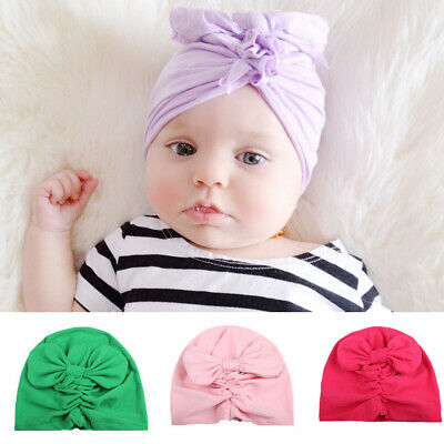 Hairband Beanie Cap  Newborn  Bowknot Turban Headwrap Flower Headband Baby Hats