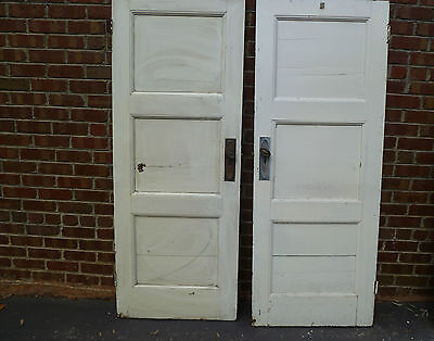 Pair Antique Federation/Colonial Three Panel Timber Doors (755mm x 1960mm x 36mm