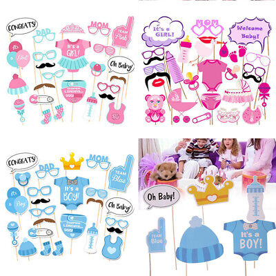 25 27/Set Baby Shower Photo Booth Props Boy Girl Funny Birthday Party Decoration