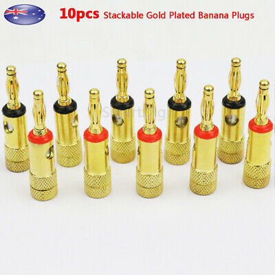 10 pcs 4mm Stackable Gold Plated Banana Plugs Speaker Wire Connector AU