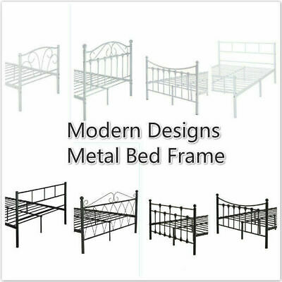 Modern Designs Metal Bed Frame 3ft Single 4ft Small Double 3 Size White/Black
