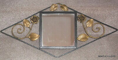 Vintage French Art Deco Mirror, Wrought Iron with Trailing Gilt Roses