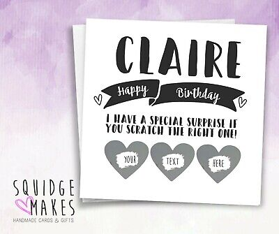 personalised women Birthday surprise scratch card* Scratchcard* gift reveal