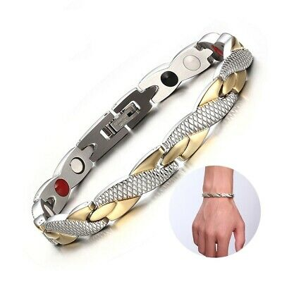 THERAPEUTIC ENERGY MAGNETIC BRACELET GOLD FOR WOMEN MEN - Free Shipping
