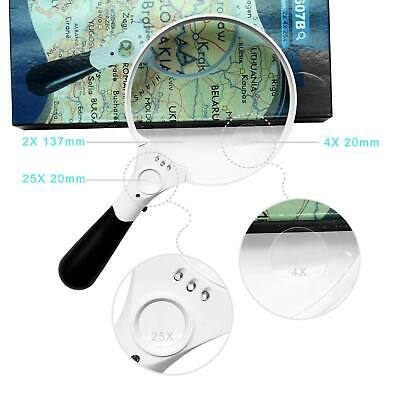3 LED 45 X Magnifying Glass with Light Handheld Magnifier Magnifying Glass Lens