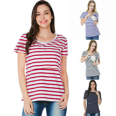 Women Striped Pregnant Nursing Infant For Maternity Multifunctionl Blouse Tops