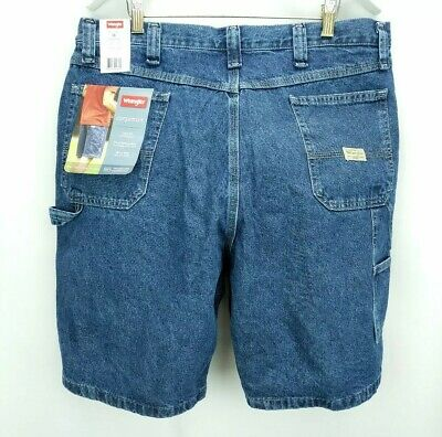 NEW MENS WRANGLER CARPENTER RELAXED FIT BLUE JEAN SHORTS SIZE 48 46 50 64KX2AW