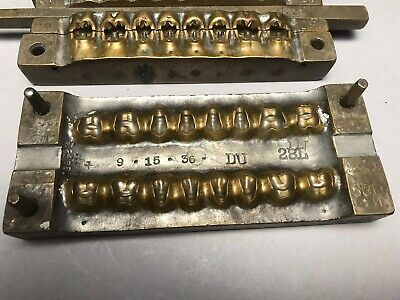 Antique Heavy Five Piece Brass Dental Mold 1936 #2