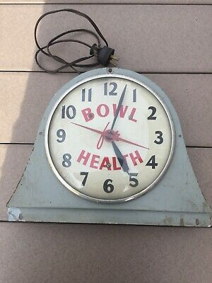 Rare Antique Vintage Advertising Bowling Clock Glass Bubble Face Bowl For Health