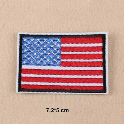 78360ca5a77 Lot 12 Pcs Embroidery US American Flag Iron Sew On Patch Applique Fabric  2.8