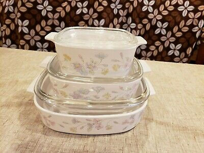 Corning Ware Pastel Bouquet 3 CASSEROLE DISHES with LIDS