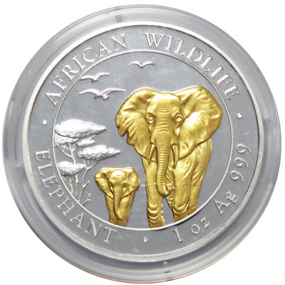 2015 Somalia 100 Shillings Silver 1 oz Elephant BU Glided