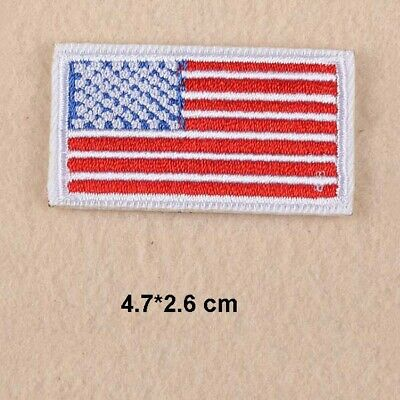 c4bef937776 Lot 20 Pcs Embroidery US America Flag Iron Sew On Patch Applique Fabric