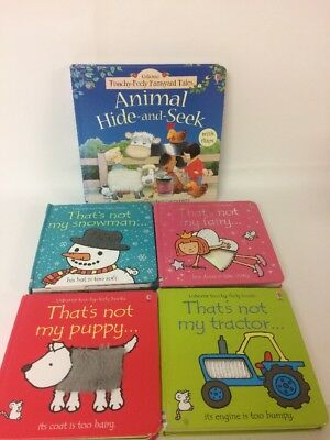 Thats Not My Books Bundle x4 Puppy Tractor Snowman Fairy Touchy Feely Sensory