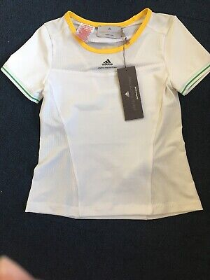Girls Adidas Stella McCartney Tee, Tennis, Size 7/8 Years. Mainly White