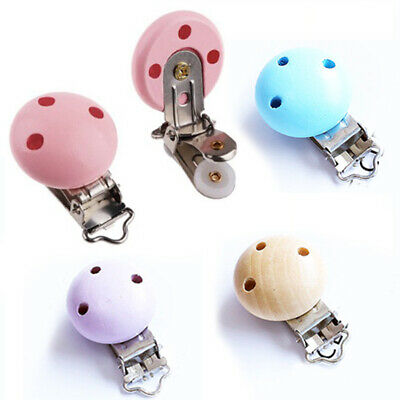 5 X Kids Infant Baby Pacifier Suspender Clips Holder Wooden Soother Dummy Nipple