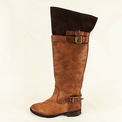 4a4faace261 SixtySeven Anthropologie Brown Leather Boots EUR 37 Womens Size 7 Over the  Knee