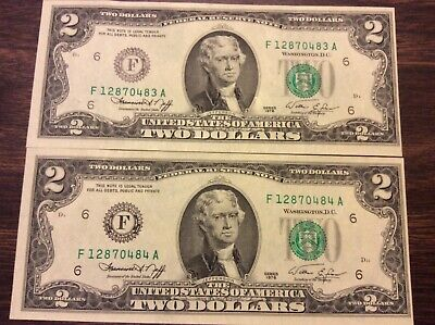 ✯LUCKY NEW Uncirculated Two Dollar Bill Crisp $2 Sequential Notes