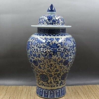 16'' chinese blue and white porcelain flowers and plants vase jar statue