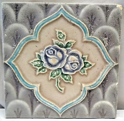 Tile Vintage Porcelain Purple Rose Flower Japan Majolica Art Nouveau Collect#179