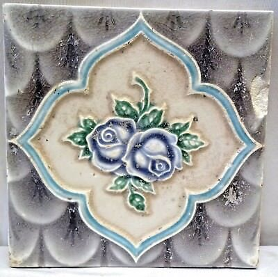 Tile Vintage Porcelain Purple Rose Flower Japan Majolica Art Nouveau Collect#180