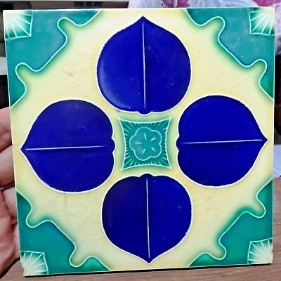 Tile Vintage Porcelain Blue Flower Design Japan Majolica Art Nouveau Collect#175