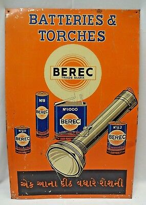 Vintage Advertise Tin Sign Berec Torches Battery Graphics Rare Collectibles #1