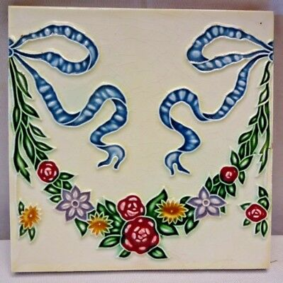 Vintage Porcelain Tile Christmas Garland Design Japan Art Nouveau Majolica #215