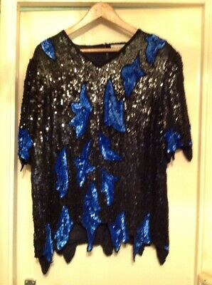 Gorgeous Vintage Sequinned Top Size XL