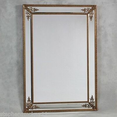 Extra Large Antiqued Gold Corner Detail French Style Wall Mirror 192 x 134 cm