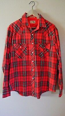 24addee9 VINTAGE Pine Grove Flannel shirt Western pearl snap buttons Red Navy plaid  L 70s
