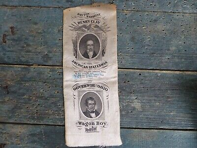 antique stevengraph political campaighn ribbon dayton barbecue henery clay ohio