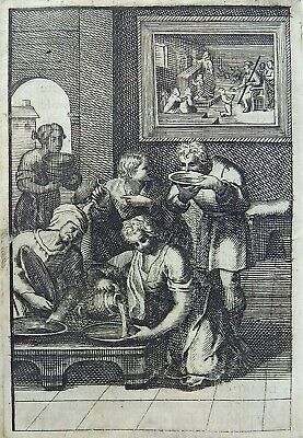 """1685 Gomberville Emblematica - """"Food can achieve Everything"""" - engraving"""
