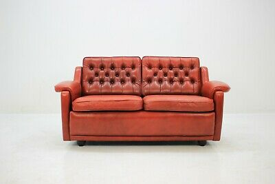 60ER DANISH LEDER COUCH KANAPEE 60s LEATHER RED SOFA MID ...