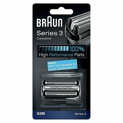 Braun 32B Series 3 Electric Shaver Replacement Foil Cutter Cartridge Head, Black