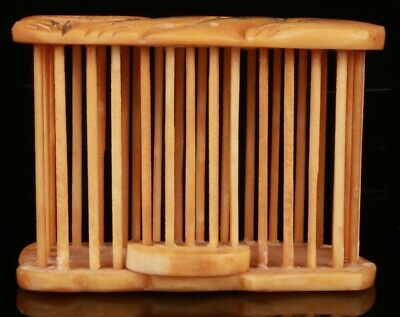 China Cattle Bone Handmade Carving Cat Statue Small Cage Collection