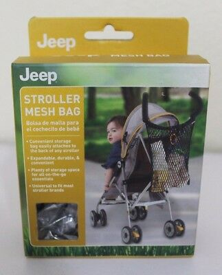 JEEP Stroller Mesh Bag convenient storage, Expandable, Durable Black