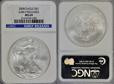 2008 Ngc Ms69 Early Releases Uncirculated American Silver Eagle $1 Coin !!!