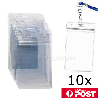 10X Plastic ID CARD BADGE HOLDER POUCH Clear PVC Lanyard Work Zip Lock BUSINESS
