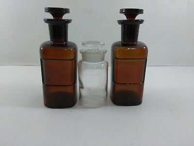 """3 Apothecary Bottles 2 5"""" Brown 1 3 1/2"""" Clear With Glass Stopper W. T. CO. LOT"""