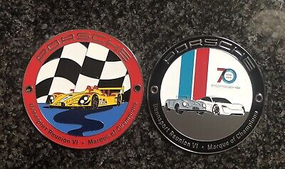 2 Porsche Rennsport Reunion Vi Grill Badges 70 Year 356 Mission E Rs Spyder