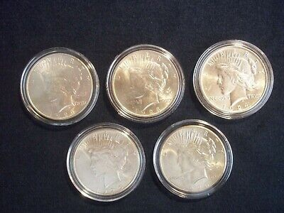 Peace Silver Dollars 5 Coins, 1922, 1923, 1924, 1925, 1926