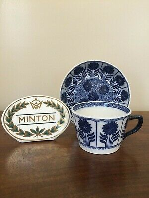 Antique Minton CHINA ASTER Blue Aesthetic Flat Cup & Saucer Set (C)