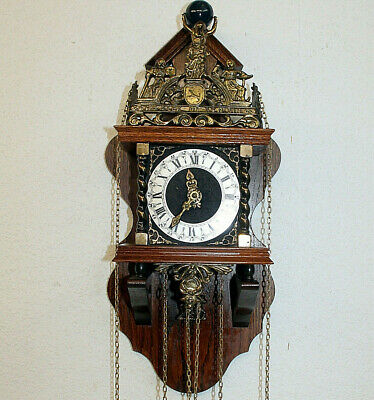 Old Zaanse Zaandam Warmink Wuba Dutch Antique Vintage Wall Clock 8 Day